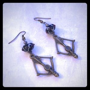 Black Beaded Bow & Arrow Earrings